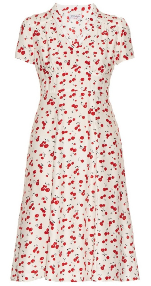 HVN Morgan Cherry-Print Short-Sleeved Dress