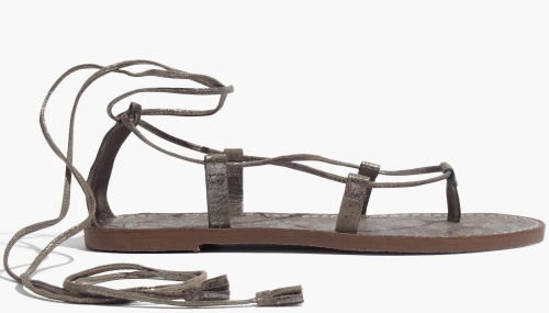 The Boardwalk Lace-Up Sandal in Metallic