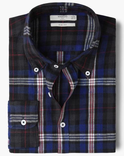 Slim-Fit Check Linen Shirt