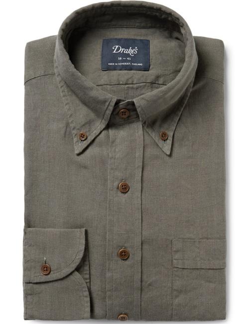 Drake's Green Slim-Fit Button-Down Collar Linen Shirt