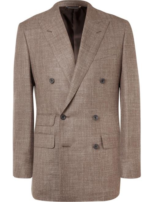 Thom Sweeney Brown Slim-Fit Double-Breasted Slub Wool, Silk, and Linen-Blend Blazer