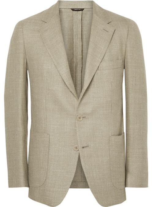 Loro Piana Ecru Woven Wool, Silk, and Linen-Blend Blazer