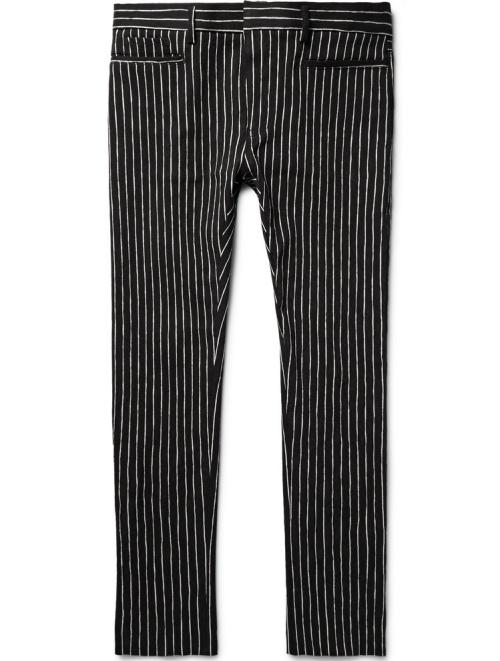 Haider Ackermann Skinny-Fit Chalk-Stripe Cotton-Blend Trousers