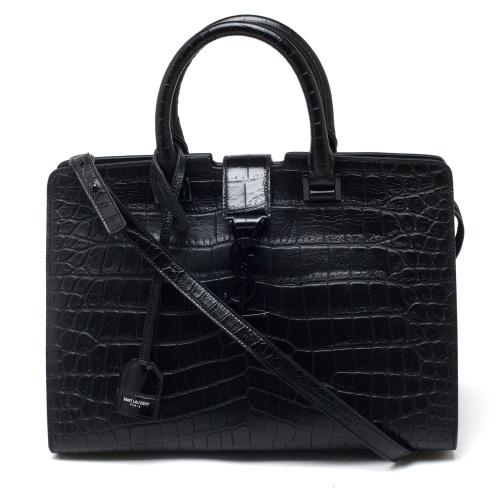 Saint Laurent Leather Cabas Monogramme Handbag
