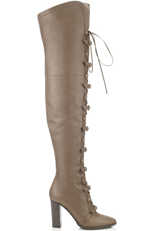 Maloy Taupe Grey Leather Over-the-Knee Boots