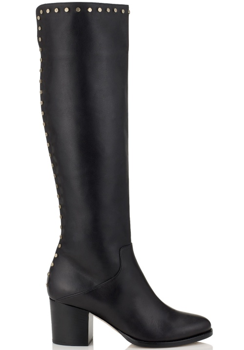 Monroe Black Smooth Leather Knee-High Boots with Studs Trim