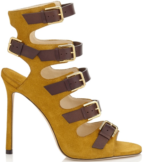 Trick Amber Suede and Dark Brown Leather Buckled Sandals
