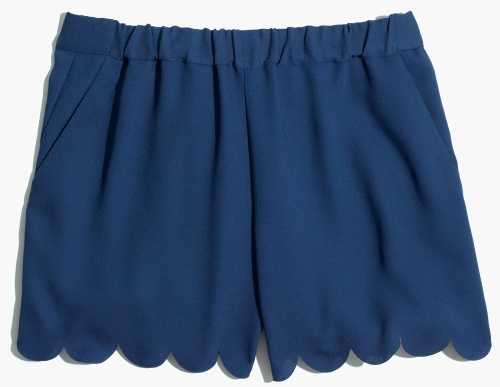 Scallop-Hem Pull-On Shorts