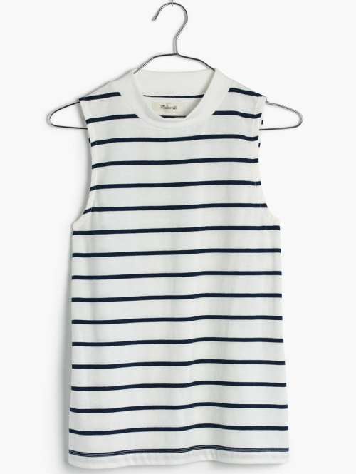 Tune Mockneck Tank Top in Harmon Stripe